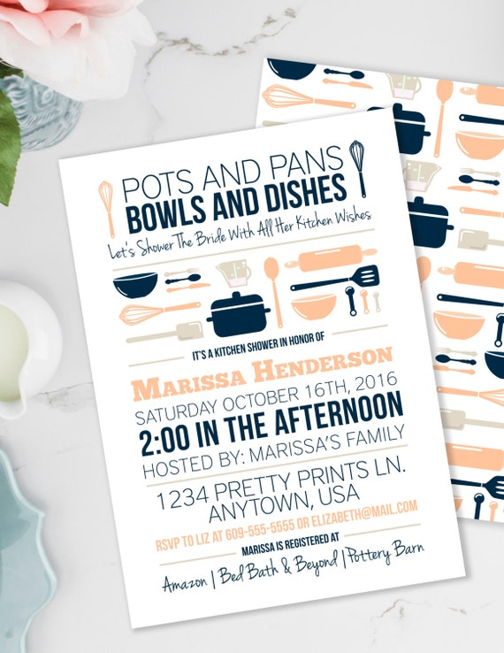 kitchen party invitation cards design. Il 570xn Stock the Kitchen Bridal Shower Invitation  Pots and Pans Bowls