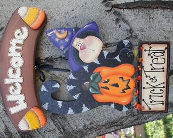 """October Black Cat and Candy Corn for """"Monthly Interchangeable Welcome Sign""""  - Wood Door or Wall Sign Hanging"""