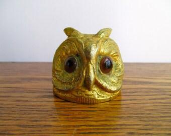 Vintage Brass Owl Head Bottle Opener