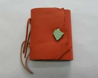 Orange Leather Journal, Small Orange Leather Journal, Orange Quarter Page Journal, Orange and Green Leather Journal