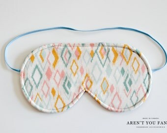 Sleep Mask, Eye Mask, Travel Mask, Handmade Diamond Print Pattern Mask by Aren't You Fancy!