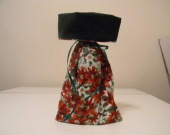 Gift Bag - Wine bottle gift bag - poinsettia flower print