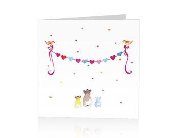 Greeting Card – Rainbow hearts