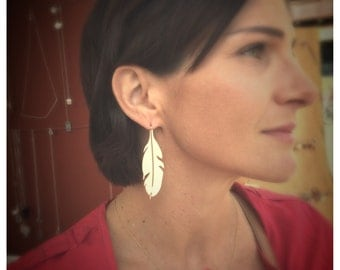 Argentium Silver and Gold Feather Earrings - The Perfect Boho Jewelry