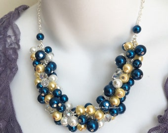 Navy and Yellow Necklace, Navy and Light Yellow Necklace, Bridesmaids Gift, Bridesmaids Necklace, Navy Necklace, Pearl Beaded Necklace