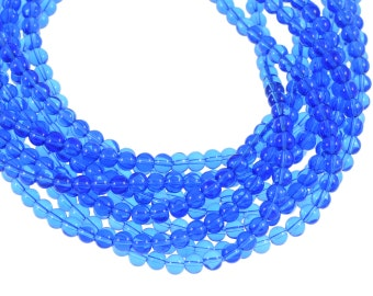 Clear Deep Sapphire Blue 6mm Round Glass Beads - Full 16 inch strand - Approximately 72 beads