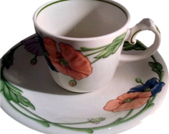 Villeroy and Boch Amapola Porcelain Cup and Saucer Set