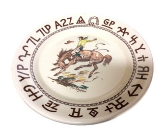 Western Rodeo Plate Authentic Wallace China Westward Ho Rodeo Plate Bread and Butter, Till Goodin