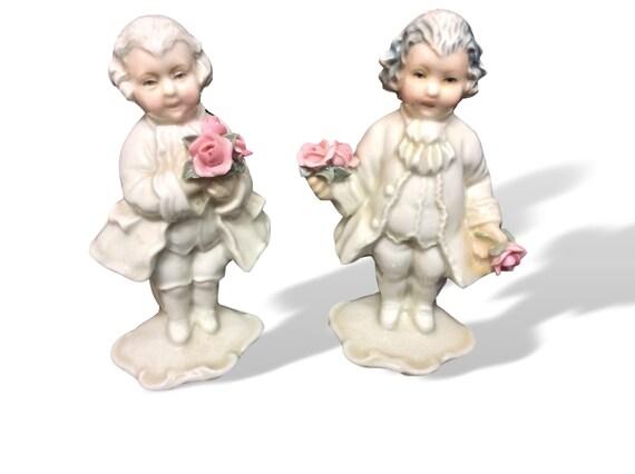 Colonial Male Figurines French Provincial Men Porcelain Knick Knack Set