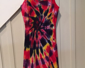 Tye dye dress, Hand dyed dress, Cotton dress, Spagetti strap dress, Groovy dress, hippie dress