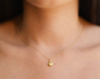 Gold necklace, shell necklace, small necklace, tiny pendant, gold filled necklace, petite necklace -524