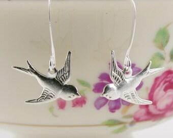 Tiny Silver Bird Earrings, Silver Swallow Earrings, Dangle Bird Earrings, Wedding Jewellry, Feather Earrings