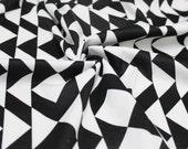 Black and White Tribal Print Geometric Ponte Roma Fabric  by the yard - 1 Yard Style 6831