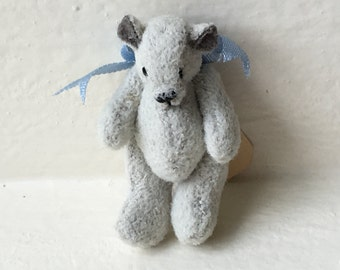 Miniature Gray Bear with Blue Bow 1987  (JL)