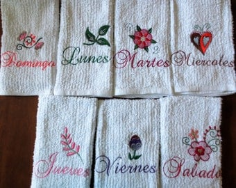 Spanish Kitchen Towels Machine Embroidered Days of the Week