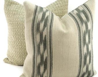 Beige & Gray Linen Ikat Throw Pillow Cover, Woven Southwestern Ikat Print Pillow, Lumbar Pillow, Neutral Linen Ikat Throw Pillow Cover