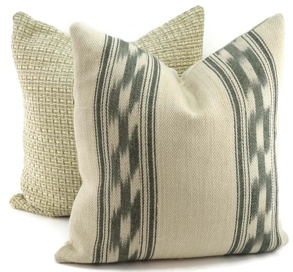 Mojave Ikat Stripe Beige & Gray Linen Throw Pillow Cover