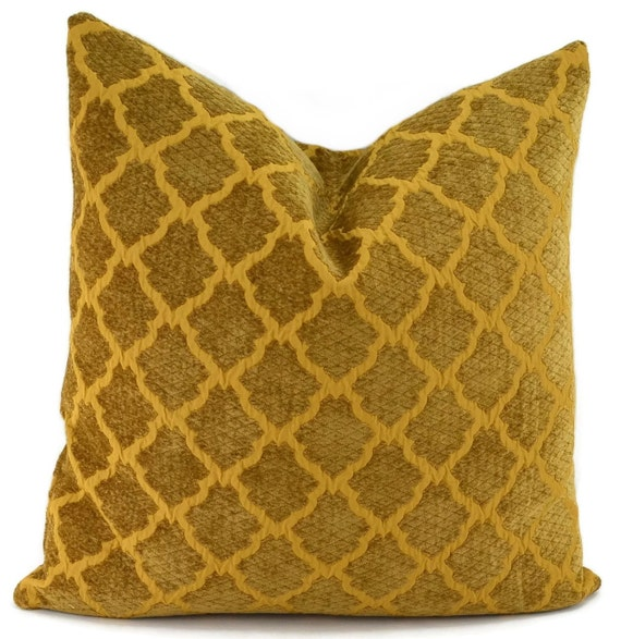 Sale Gold Chenille Throw Pillow Cover 18x18 Gold Moroccan