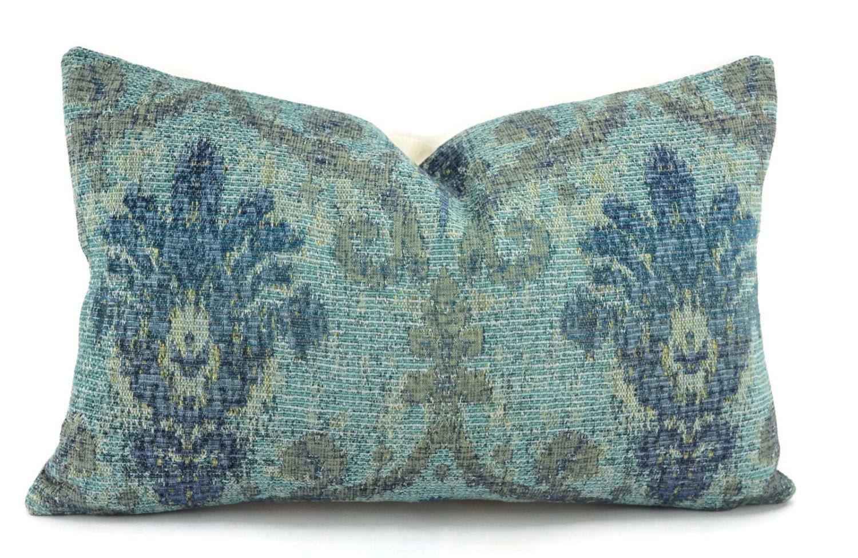 Blue Chenille Throw Pillows : Blue Aqua & Teal Woven Chenille Ikat Throw Pillow Cover