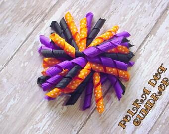 "Sale * Black, Purple & Orange 4"" Korker Bow - Solid Polka Dot Boutique Curly Clip"