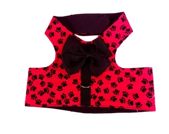 Red Paw Print Dog Harness, Dog Clothing Pet Harness, Pet Clothing, Harness