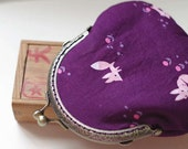 Purple Fireworks with Fox Coin Purse - Cotton fabric with silver metal frame
