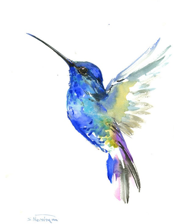 Blue Hummingbird painting 14 x 11inbright color by ...
