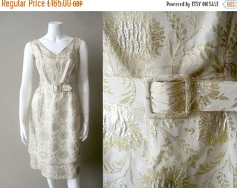 RESERVED  50% off SALE 1950s metallic brocade wedding dress / shimmering hearts dress / 50s Ivory brocade dress