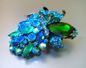 Large Floral Blue Green Brooch, Teal ABs Rhinestones, Vintage