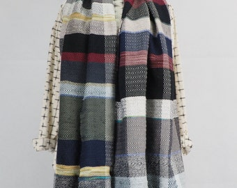 Wide Check Handwoven Scarf - Grey & Royal Blue