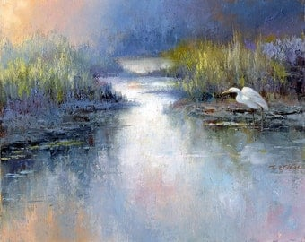 Egret Watching (small size) Art Print of Watercolor Painting - Lake, Nature