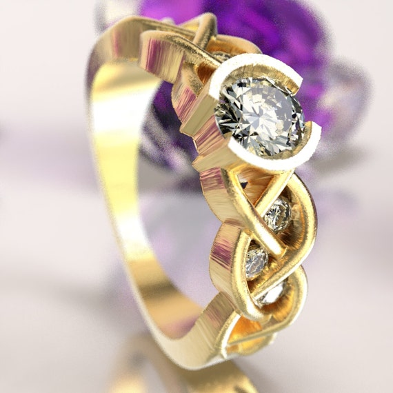 Celtic Moissanite Engagement Ring with Braided Knotwork Design Made in 10K 14K 18K Gold or Palladium, Made in Your Size Cr-1006