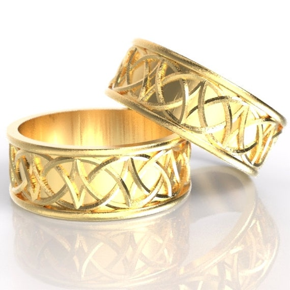 Celtic Wedding Ring Set With Mirrored Arches Knotwork Design Made in 10K 14K 18K Gold, Palladium or Platinum, Made in Your Size Cr-109