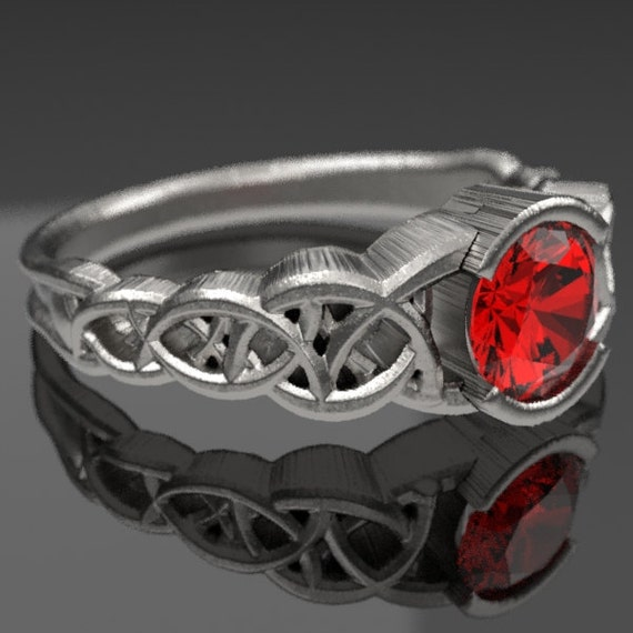 Celtic Wedding Ring With Ruby and Dara Knotwork Design in Sterling Silver, Made in Your Size CR-430