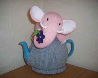 Knitted Tea Cosy Cozy Cosie Pink Elephant with a Flower Shabby Chic