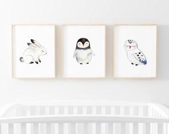 "INSTANT DOWNLOAD - Set of Three 8X10"" Printable digital art files - Arctic Animals- Neutral - Nursery wall art - Black White Grey - SKU:1381"