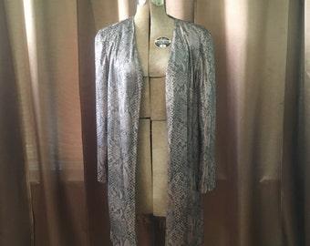 Vintage 1970s Exotic Long Metallic Silver Bronze Reptile Snake Cape Dress Jacket Vintage Coat S M