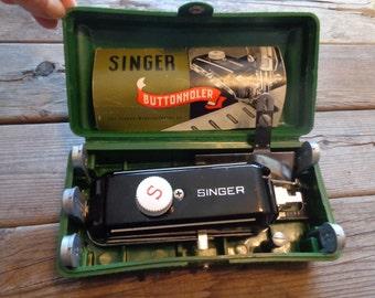 "Vintage 1948 ""Singer Buttonholer"" Sewing Machine Attachment With Original Instruction Booklet, Case & Accessories - Old Singer Buttonholer"