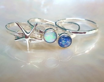 Starfish stack ring set in sterling silver, Opal stack rings, opal starfish stack ring set, sterling silver hammered stack ring set