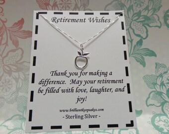 Teacher Retirement Gift Sterling Silver Apple Necklace