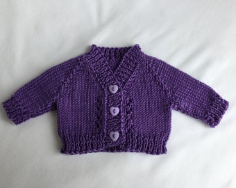 "Waldorf Doll cardigan / sweater in purple (fits 14"" doll).  Variety of colours and styles in our shop..."