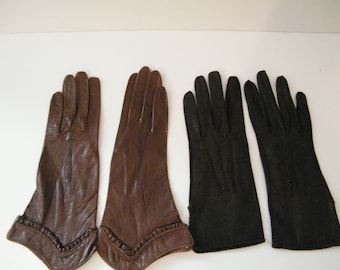 Vintage Soft Leather Gloves 2 pair ladies  driving gloves, Black is 6 3/4  by Fownes, Brown size 6 1/2 made in Belgum