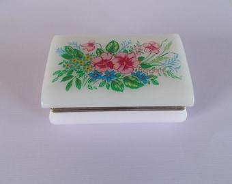 Vintage Mod Small Plastic Flower Jewelry Box