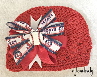 Texas Rangers Baby Girl Boutique Bow Crocheted Hat