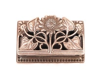 Art Nouveau Sunflower Silver Plated Stamp Holder, Silver Stamp Box, Postage Stamp Holder, Hollywood Regency Stamp Box, Sunflower Stamp Box