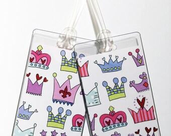 Luggage Tag Pair -- Princess Crowns