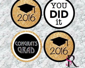 Graduation Cupcake Toppers, Set of 12 PRINTABLE
