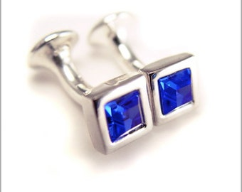 Rhodium Plated Cufflinks with Sapphire Blue Swarovski Crystals CS010