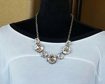 Statement Necklace Crystal Statement Necklace Bib Necklace Weddings BRIDESMAIDS Proms BoHo Chic chunky necklace