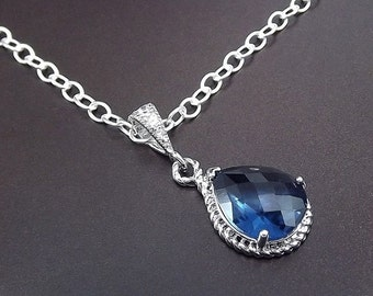 SUMMER SALE Sterling Silver Necklace Sapphire Blue Glass Pendant